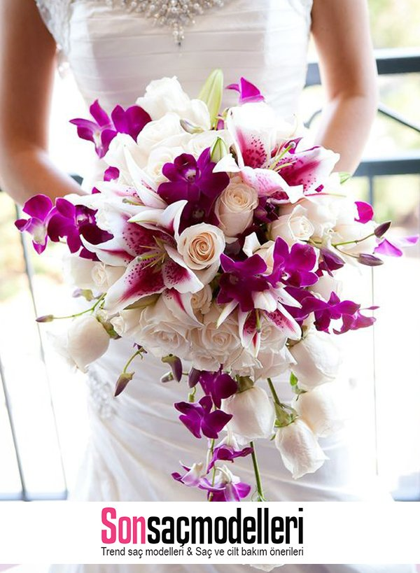 pembe mor orkide ile gelin buketi modeli