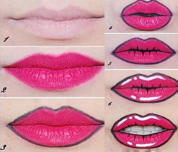pop art dudak makyajı