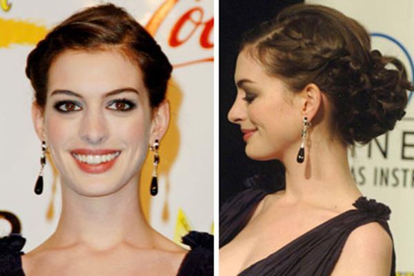 Anne Hathaway topuz saç modeli