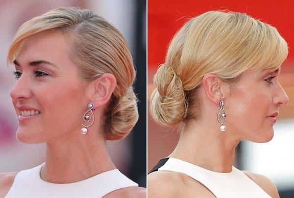 Kate Winslet modern topuz saç modeli
