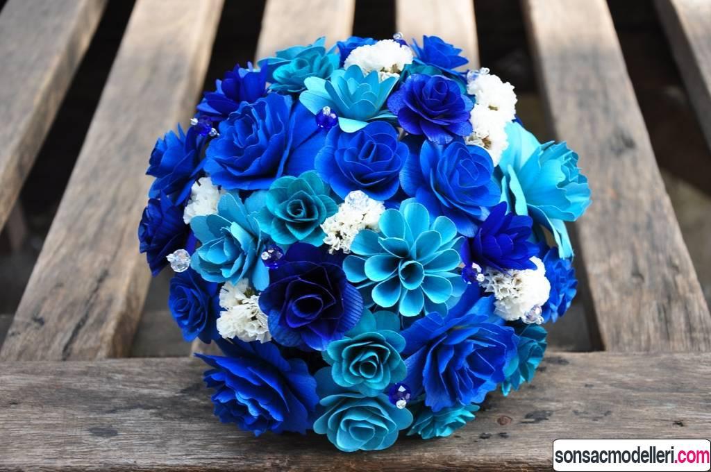 mavi düğün buketi modelleri