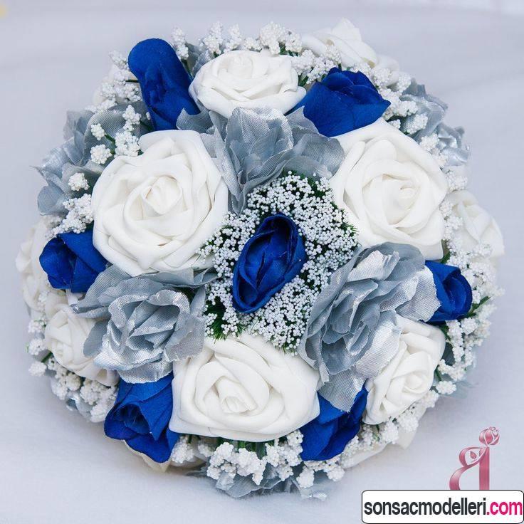mavi düğün çiçekleri