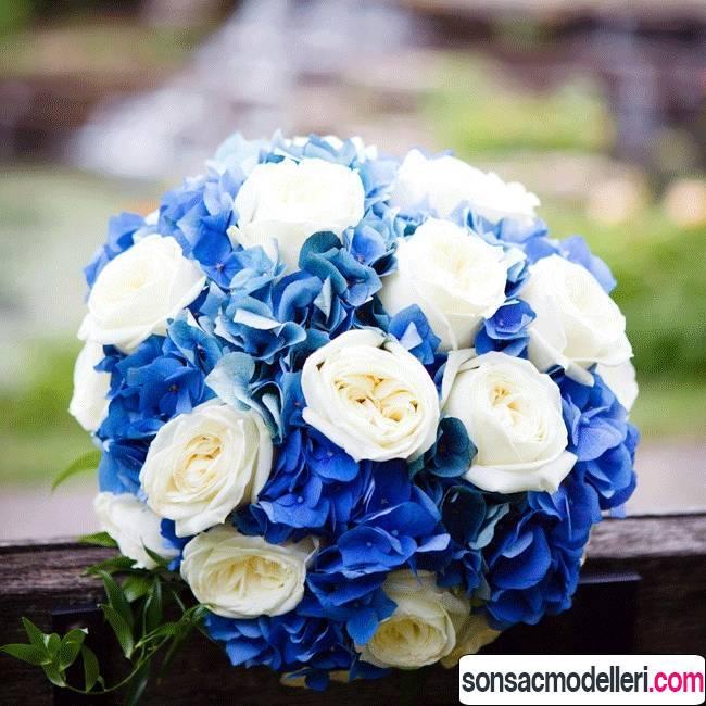 mavi düğün buketi