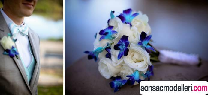 mavi gelin çiçeği modeli