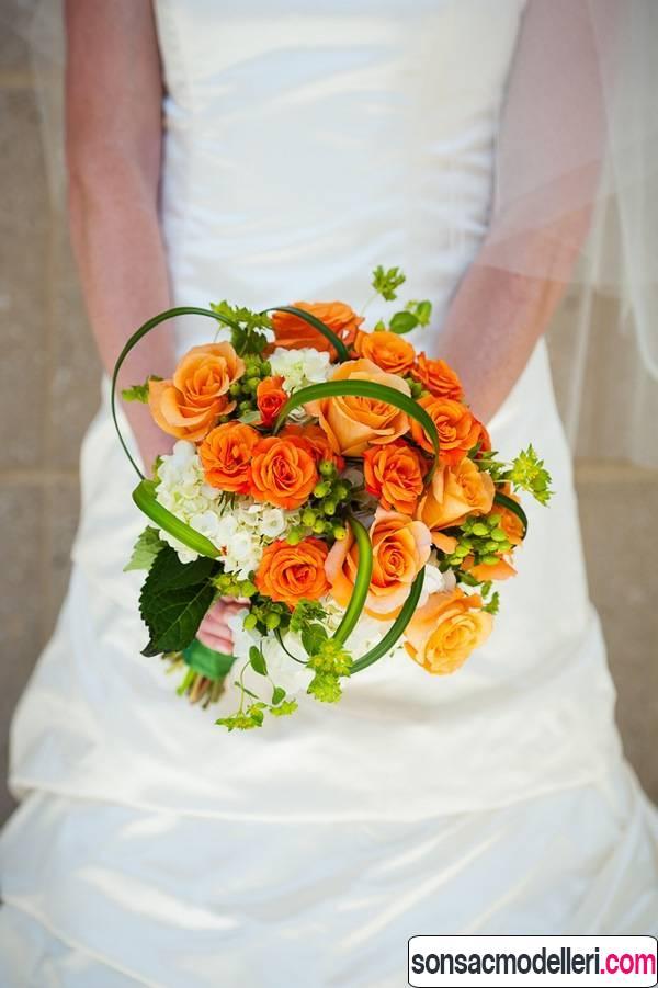 turuncu düğün çiçeği modelleri