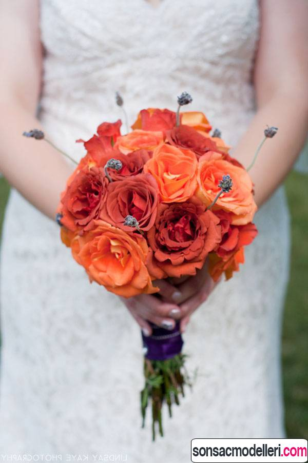 turuncu düğün buketi modelleri