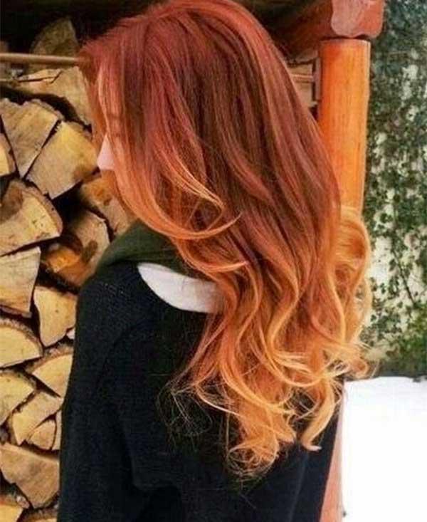 kahverengi kızıl ombre balyaj