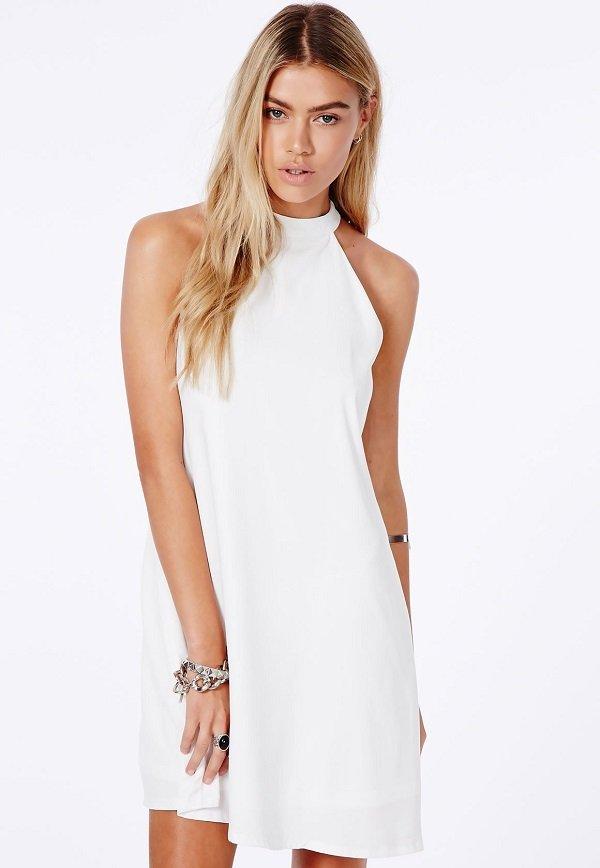 halter yakalı beyaz elbise