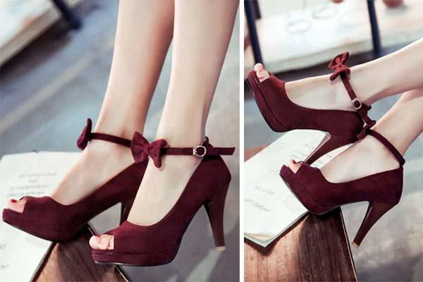 kırmızı bordo topuklu gelin ayakkabısı