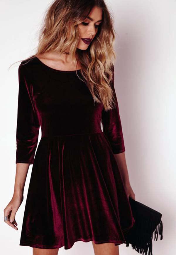 kadife elbise modası