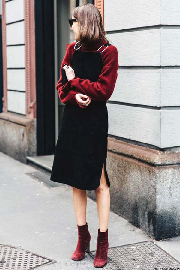kadife ceket ve kırmızı kadife ayakkabı kombinleri