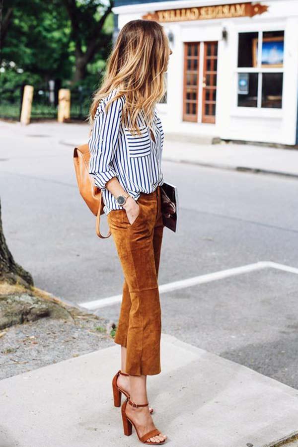 kahverengi kadife pantolon kombini