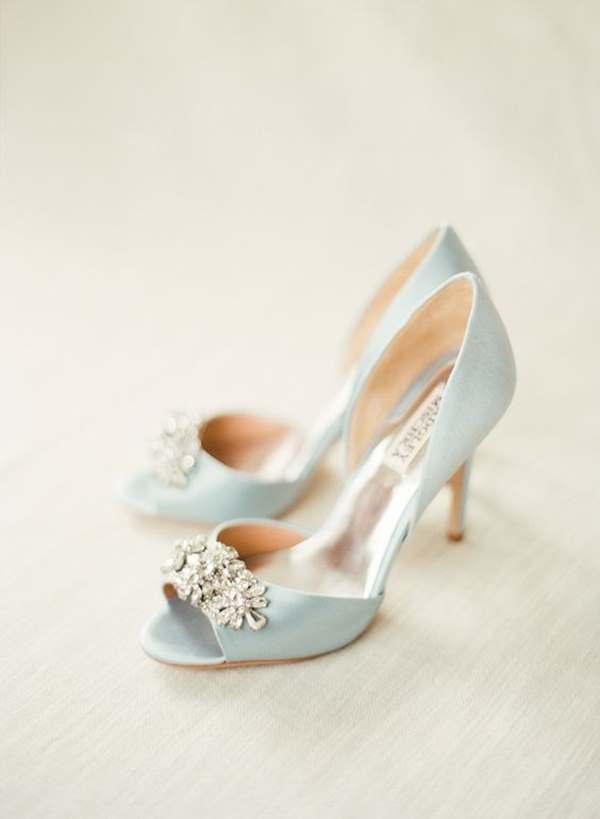 mavi renk pırlantalı gelin ayakkabısı
