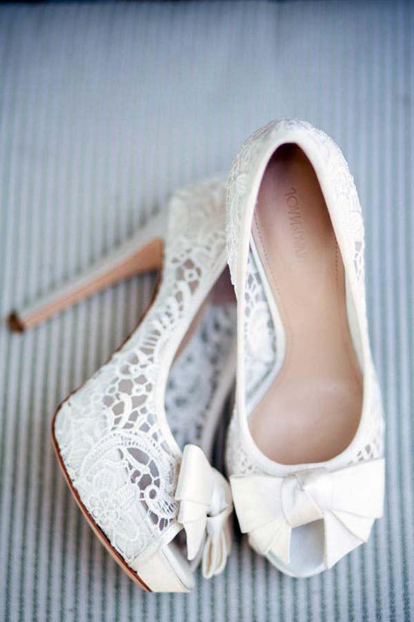 topuklu dantelli gelin ayakkabısı