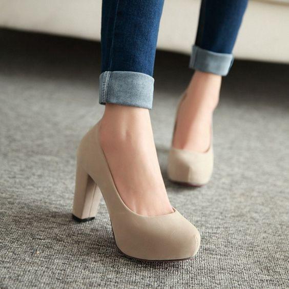 kalın topuklu ayakkabı modeli