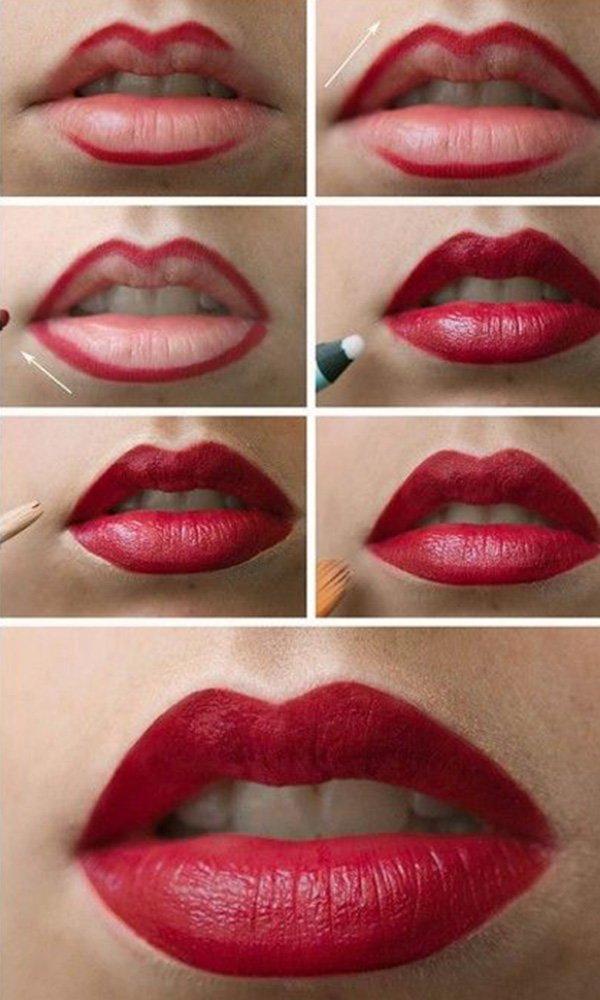 adım adım dudak makyajı