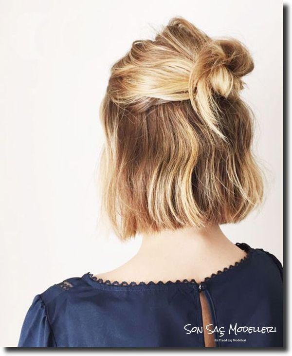 kısa saçlar için topuz modelleri 2018 24
